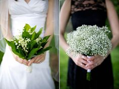 Lily of the Valley bridal bouquet and Baby's Breath for the bridesmaids