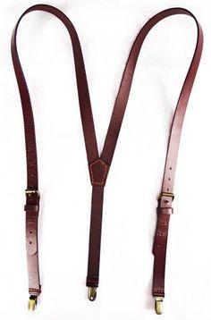 Hand Stitched Leather Suspender in Dark Brown by sunmarkstudio, $43.00