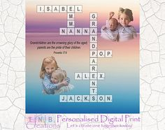 Let us create your own scrabble board for the grandparents. This listing includes personalising all grandchildrens names, photos and includes nanna/pop (etc).  Introductory price of $20. Be quick.  Our artwork will make a perfect addition to any home or a great personalised gift for any special occasion. Use the digital file to frame, create a shadow box or print on merchandise. The possibilities are endless and use the image as many times as you like.  The above design includes personal...