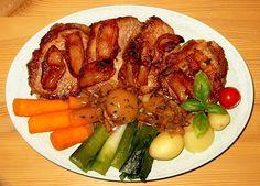 Nakkekoteletter med bacon., Danmark,Andet, Hovedret, Svinekød, opskrift