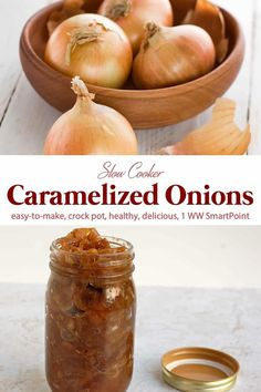 Slow Cooker Caramelized Onions are a delicious way to boost flavor to so many dishes with minimal fat, calories and WW Points! Healthy Crockpot Recipes, Slow Cooker Recipes, Gourmet Recipes, Cooking Recipes, Easy Recipes, Slow Cooking, Italian Cooking, Vegetarian Cooking, Easy Cooking