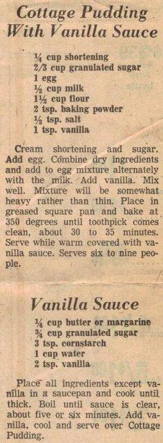 Vanilla sauce for bread pudding