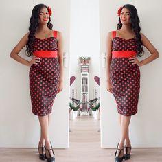 Summer 1950s polka dots in retro style.  Check more vintage & retro styles at instagram: @orientalspiceandsomechocolate