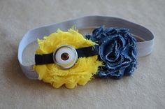 Minion Despicable Me Inspired Shabby Chic Headband by angelabrice