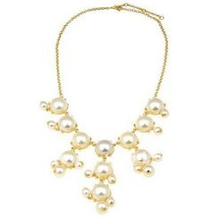 Chromall. Elegant Statement Imitation Pearl Bubble Bib Necklace