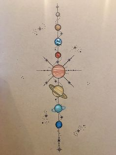 Art By Crystal — Solar system spinal tattoo design commission