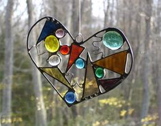 Valentine heart contemporary abstract by DesignsStainedGlass,