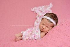 SET Ruffle Stretch Wrap Pink Floral and Pink Pearl Headband   Beautiful Photo Props