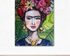 Frida Print, roses, pretty, portrait