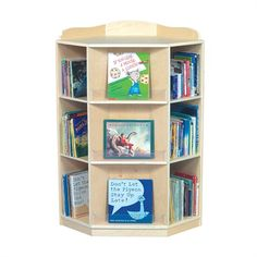 Make use of the corner of your kid's playroom or bedroom with this Corner Book Nook!   This bookshelf is made of birch plywood and is coated with a smooth durable UV finish
