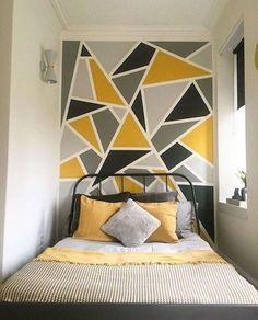133 best DIY bedroom wall decor – home decor – … Diy Wall Decor For Bedroom, Bedroom Wall Designs, Diy Bedroom, Home Decor, Bedroom Ideas, Bedroom Pictures, Modern Bedroom, Geometric Wall Paint, Room Wall Painting