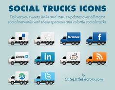A fleet of trucks with social logos displayed on their sides.