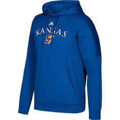 adidas Men's Kansas Jayhawks Blue Team Issue Fleece Pullover Hoodie, Size: Medium