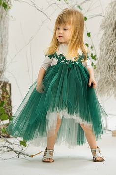 Tutu Train Dress Jade Forest Fay Silk by PetiteCocoCeremonie