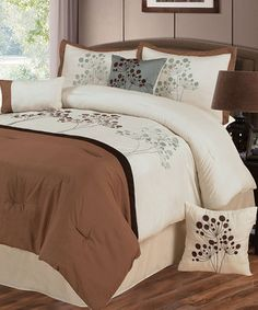 Love this Brown & Blue Brooke Lavish Comforter Set by Trademark Global on #zulily! #zulilyfinds