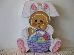HP Gingerbread Easter bunny and basket SHELF SITTER hand painted USA
