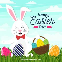 Happy easter day background in flat style Free Vector