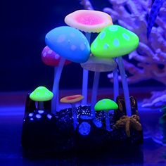 Uniclife Glowing Effect Ox Horn Coral Ornament Silicone Decor for Fish Tank Aquarium