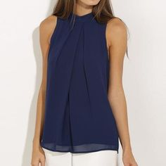 Fashion Women Summer Vest Top Sleeveless Shirt Blouse Casual Tank Tops T Shirt Blouse Originale, Pull Long, Robes Vintage, Women's Summer Fashion, Fashion 2016, Blouses For Women, Chiffon Tops, Chiffon Blouses, Casual