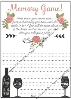 9b37d648dda2 Memory Game - Who Am I - Bridal Shower Game - Instant Download - Fun Unique  Games DIY PDF Wedding Personalized Winery Vineyard Pink Theme