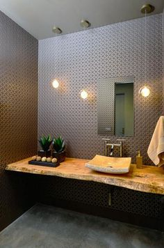 Browse modern bathroom ideas images to bathroom remodel, bathroom tile ideas, bathroom vanity, bathroom inspiration for your bathrooms ideas and bathroom design Read Rustic Powder Room, Modern Powder Rooms, Best Bathroom Vanities, Bathroom Vanity Lighting, Bad Inspiration, Bathroom Inspiration, Small Elegant Bathroom, Small Bathroom, Powder Room Design