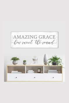 Amazing Grace How Sweet The Sound, Christian hymn song verse on canvas wall art. Makes the perfect inspirational home decor.