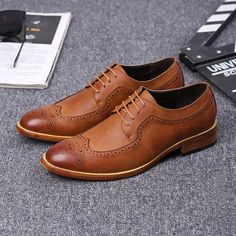 ERRFC Designer Brown Men Brogue Shoes Breathable Round Toe Lace Up Black  Leisure Leather Shoes Man Office Career Dress Shoes-in Formal Shoes from  Shoes on ... ac811990e26c