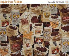 VENTE sacs de grains de café imprimé pur coton tissu--une verge