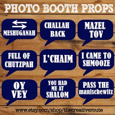 Jewish Photo Booth Props Printable 10 Large Funny DIY photobooth props for Bar Mitzvah Bat Mitzvah Wedding  Holiday or any Jewish event. by TheCreativeRoute on Etsy https://www.etsy.com/listing/203315520/jewish-photo-booth-props-printable-10