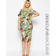 ASOS CURVE Wiggle Dress in Garden Floral Print (135 AUD) ❤ liked on Polyvore featuring dresses, multi, plus size, white floral dress, wiggle dress, women plus size dresses, tall plus size dresses y plus size floral dresses