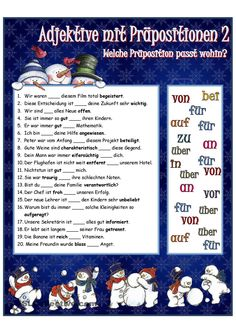 Adjektive mit Präpositionen_2 German Language Learning, Teaching Grammar, Learn German, Prepositions, Student Gifts, Germany, Classroom, Writing, Education