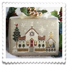 PRE-ORDER Town Church : counted cross stitch patterns Hometown Holiday Little House Needleworks embroidery