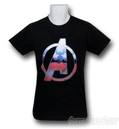 "Made from 100% Cotton this soft black t-shirt features the Avengers ""A"" Symbol filled with the recognizable patriotic color scheme of the man himself Captain America! Yes even Captain America needs help on occasion.    http://www.marveloussuperherosquad.com/details.php?pid=495958781"