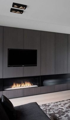 Fireplace Tv Wall, Modern Fireplace, Fireplace Design, Luxury Interior, Interior Architecture, Interior Design, Home Living Room, Living Room Designs, Wall Panel Design