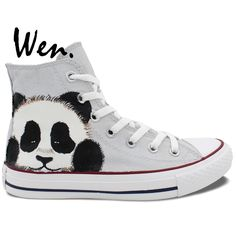 57.04$  Watch now - http://alis4s.worldwells.pw/go.php?t=32658050023 - Wen Hand Painted Grey Shoes Design Custom Cute Panda Men Women's High Top Canvas Sneakers for Boys Girls Christmas Gifts 57.04$