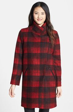 $272, Red Plaid Coat: Plaid Wedge Coat by Trina Turk. Sold by Nordstrom. Click for more info: http://lookastic.com/women/shop_items/85707/redirect