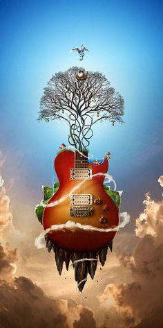 The Music nature artwork by Jerico Santander 30 Beautiful Nature Inspired Artworks Surreal Artwork, Surreal Photos, Nature Artwork, Art And Illustration, Illustrations, Foto Fantasy, Fantasy Art, Digital Art Photography, Guitar Art