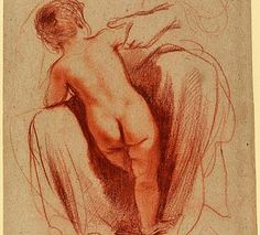 Guercino (Giovanni Francesco Barbieri), Child Seen From Behind (circa 1625). Red chalk with stumping