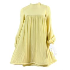Pre-owned c.1967 Pierre Cardin Pleated Babydoll Dress (1,420 CAD) ❤ liked on…