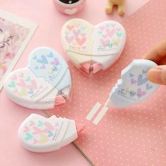 12 Pairs / lot , Heart Shaped Lovers Correction Tape , Love Heart Correction Tapes as School Writing Supplies * Pub Date: Feb 14 2017 Cool Stationary, Stationary Store, Stationary School, School Suplies, Cute Pens, School Accessories, Kawaii Stationery, Office And School Supplies, Diy Arts And Crafts