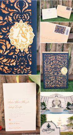 invitaciones de boda en azul y durazno