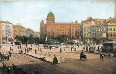 Postkarte, Berlin, Alexanderplatz mit Polizeipräsidium, um 1910.