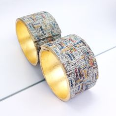 news paper yarn & gold leaf bracelet