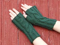 Items similar to forest green fingerless gloves knit cabled texting mitts, mittens, autumn wrist warmers, made in usa woman's winter accessory /made to order on Etsy - knittings headband Knitting Basics, Hand Knitting, Knitting Patterns, Fingerless Gloves Knitted, Knitted Hats, Knit Mittens, Ear Warmer Headband, Chicago Shopping, Wrist Warmers