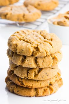 These tender, soft vegan peanut butter cookies are melt-in-your-mouth delicious. They have lots of delicious peanut butter flavor, with a softly sweet sensation, thanks to brown sugar. The combination of peanut butter and vegan butter in a creamy dough sprinkled with sugar gives this cookie its signature flavor. #vegan #cookies #peanutbutter
