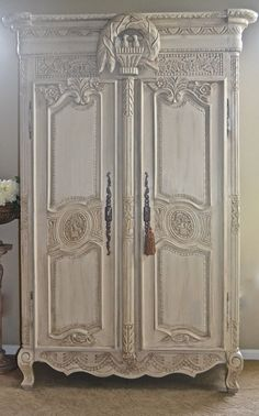 Antique Shabby Chic French Armoire / Entertainment Center/ Wardrobe