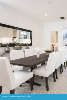 Dining room that comfortably seats 8 people. Beautiful. https://www.trulia.com/blog/celebs/