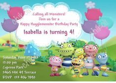 Henry Hugglemonster Birthday Party Invitation and Thank you card