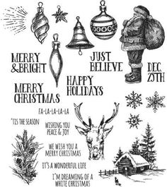 Clearance Tim Holtz Holiday Drawings Cling Stamp
