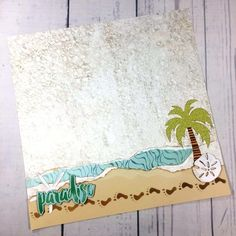 """Paradise"".  This beach scrapbook layout is perfect.  So many times there's no where to put the photos after all the work on the embellishments!"